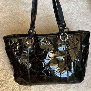 Coach Gallery Black Patent Leather Tote Bag *Used*